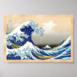 De stora vinkar av Kanagawa Katsushika Hokusai Poster