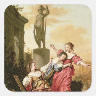 De tre döttrarna av Cecrops Fyrkantigt Klistermärke