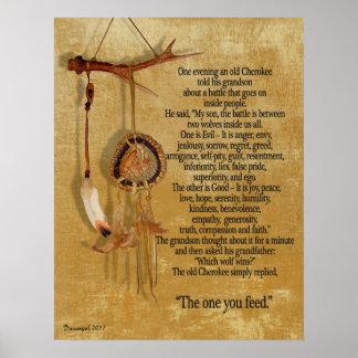 De två vargerna, Cherokee proverb Poster