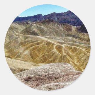 Death Valley Zabriskie pekar Sandöknen Runt Klistermärke