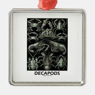 Decapods Ernest Haeckel Artforms av naturen Silverfärgad Fyrkantigt Julgransprydnad