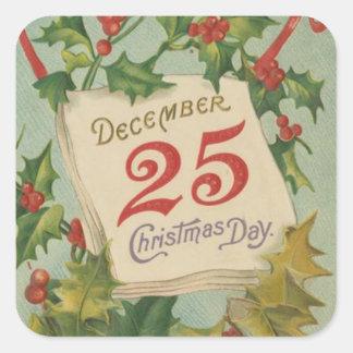 December 25th juldagen fyrkantigt klistermärke