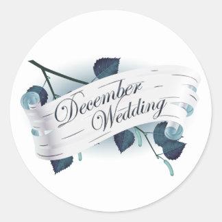December bröllop förseglar: löv av säsongen: runt klistermärke