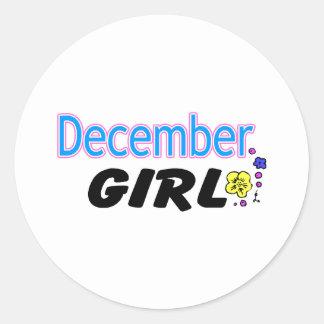 December flicka runt klistermärke