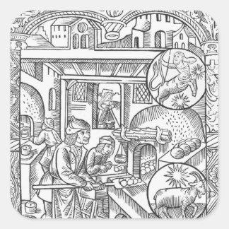 """December från """"den Almanach desen Bergers"""", 1491 Fyrkantigt Klistermärke"""