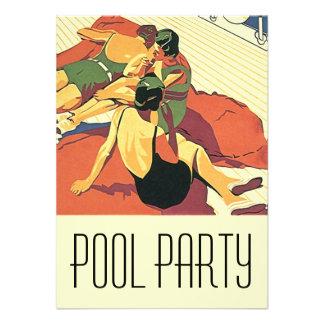 Deco för coola för party för vintageinbjudanbassän tillkännagivande