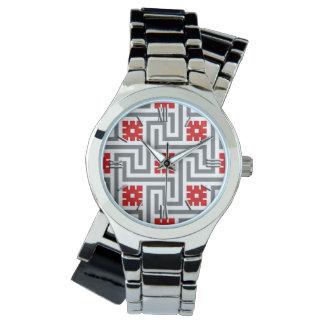 Deco greknyckel, rött, vit och grå färg/grått armbandsur