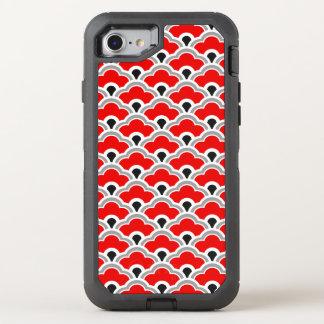 Deco kinesiska kammusslor som är röda, grå färg OtterBox defender iPhone 7 skal