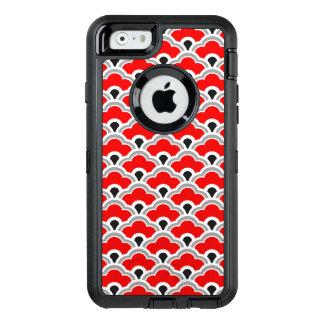 Deco kinesiska kammusslor som är röda, grå färg OtterBox defender iPhone skal