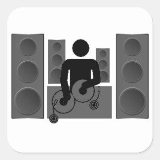 Deejay med turntablen och högtalare fyrkantigt klistermärke