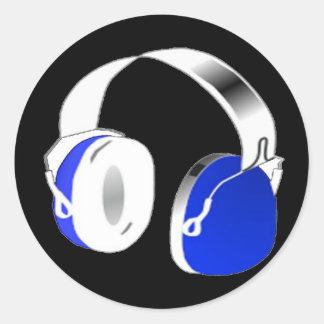 Deejayhörlurar i blått runt klistermärke