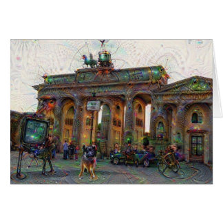 DeepDream städer, Brandenburg grind, Berlin Hälsningskort