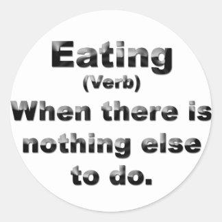 Definition av att äta runt klistermärke