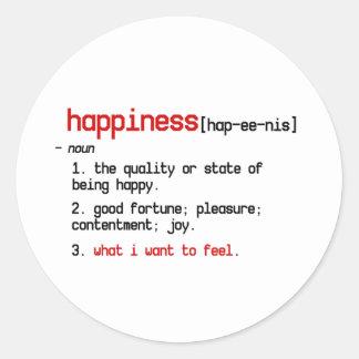 definitionen av lyckaklistermärken runt klistermärke