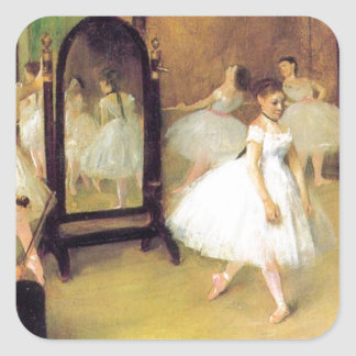 Degas balettdansörer fyrkantigt klistermärke