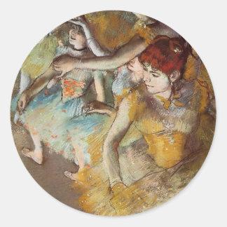 Degas balettdansörer på arrangeraklistermärken runt klistermärke