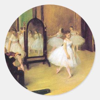 Degas balettdansörer runt klistermärke
