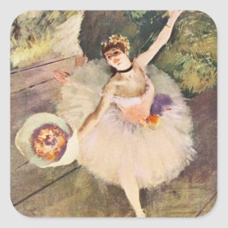 Degas ballerinaen med buketten av blommor fyrkantigt klistermärke