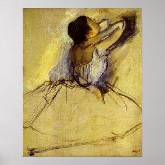 Degas dansare i gult konsttryck poster