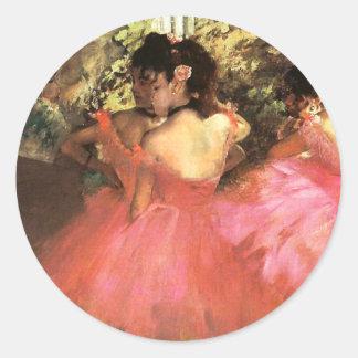 Degas dansare i rosa klistermärkear runt klistermärke