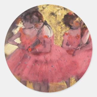 Degas: De rosa dansarna Runt Klistermärke