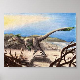 Deinonychus på strandtrycket poster