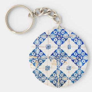 dekoration gammala portugal för mosaiklisbon blått rund nyckelring