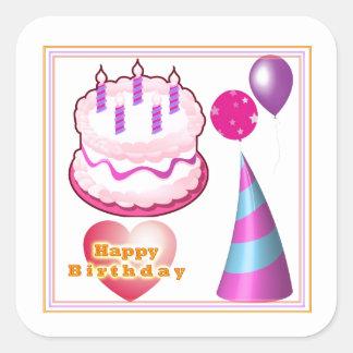 Dekorationer för HappyBIRTHDAY tårtaballong Fyrkantigt Klistermärke