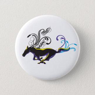 Dekorativ häst för vild standard knapp rund 5.7 cm