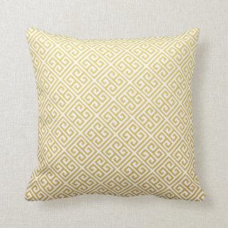 Dekorativ kudde för guld- & vitgreknyckel