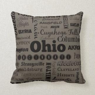 Dekorativ kudde för Ohio stadstypografi i