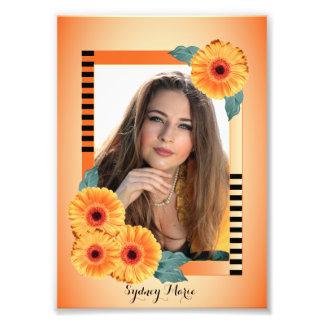 Dekorativ orange och blommigt - fotomall fototryck