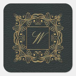 Dekorativ ramMonogram på mörkt läder Fyrkantigt Klistermärke