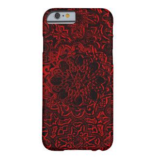 Dekorativ röd iPhone för demonlotusblommaMandala Barely There iPhone 6 Fodral