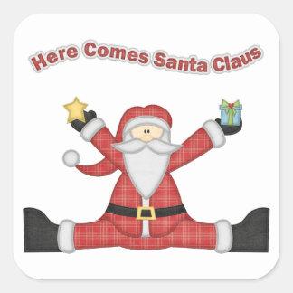 Dekorativ Santa presenter Fyrkantigt Klistermärke