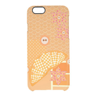 Dekorativ Scrapbook för fruktig orange Patchwork Clear iPhone 6/6S Skal