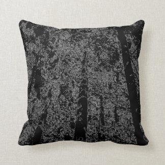 Dekorativ skogen - kudde - svart på grått