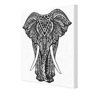 Dekorativ Zendoodle elefantillustration 6 Canvastryck