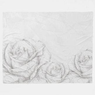 Dekorativa blom- grå färg för vintagero fleecefilt