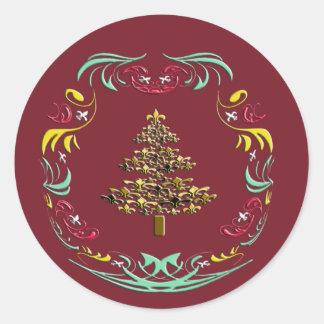 Dekorativa Guld Fleur de Lis röda Jul Runt Klistermärke