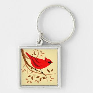 Dekorativa röda huvudsakliga gåvor fyrkantig silverfärgad nyckelring