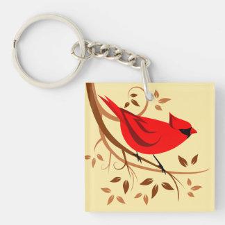 Dekorativa röda huvudsakliga gåvor fyrkantigt dubbelsidigt nyckelring i akryl