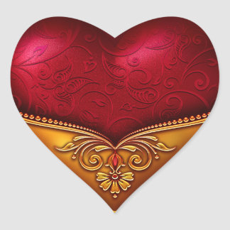 Dekorativa rött & guld hjärtklistermärken
