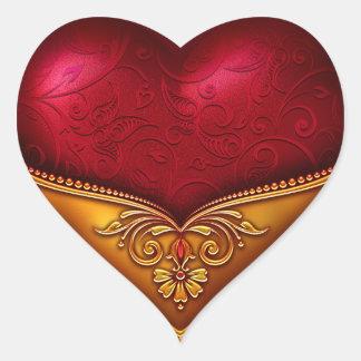 Dekorativa rött & guld hjärtformat klistermärke