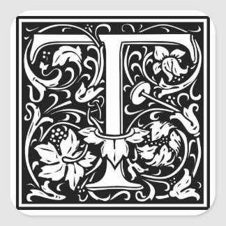 """Dekorativt brev initial """"T"""", Fyrkantigt Klistermärke"""