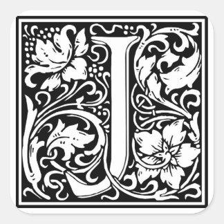 """Dekorativt brev initialt """"J"""", Fyrkantigt Klistermärke"""