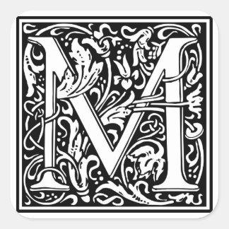 """Dekorativt brev initialt """"M"""", Fyrkantigt Klistermärke"""