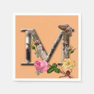 "Dekorativt brev initialt ""M"", Pappersservett"