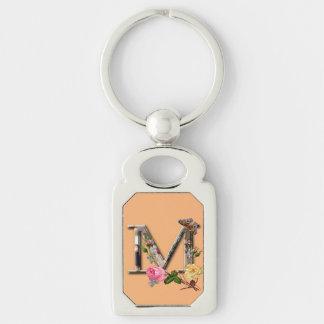 """Dekorativt brev initialt """"M"""", Rektangulärt Silverfärgad Nyckelring"""