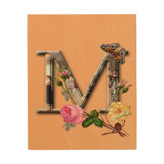 """Dekorativt brev initialt """"M"""", Trätavla"""